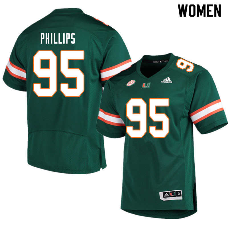 Women #95 Jaelan Phillips Miami Hurricanes College Football Jerseys Sale-Green