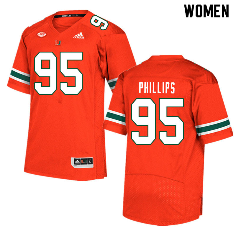 Women #95 Jaelan Phillips Miami Hurricanes College Football Jerseys Sale-Orange