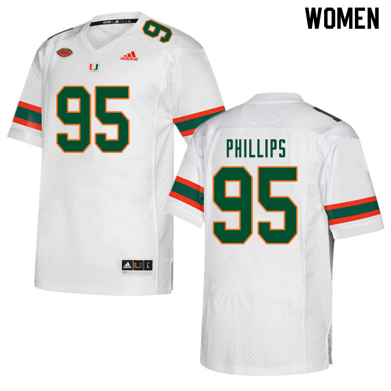 Women #95 Jaelan Phillips Miami Hurricanes College Football Jerseys Sale-White
