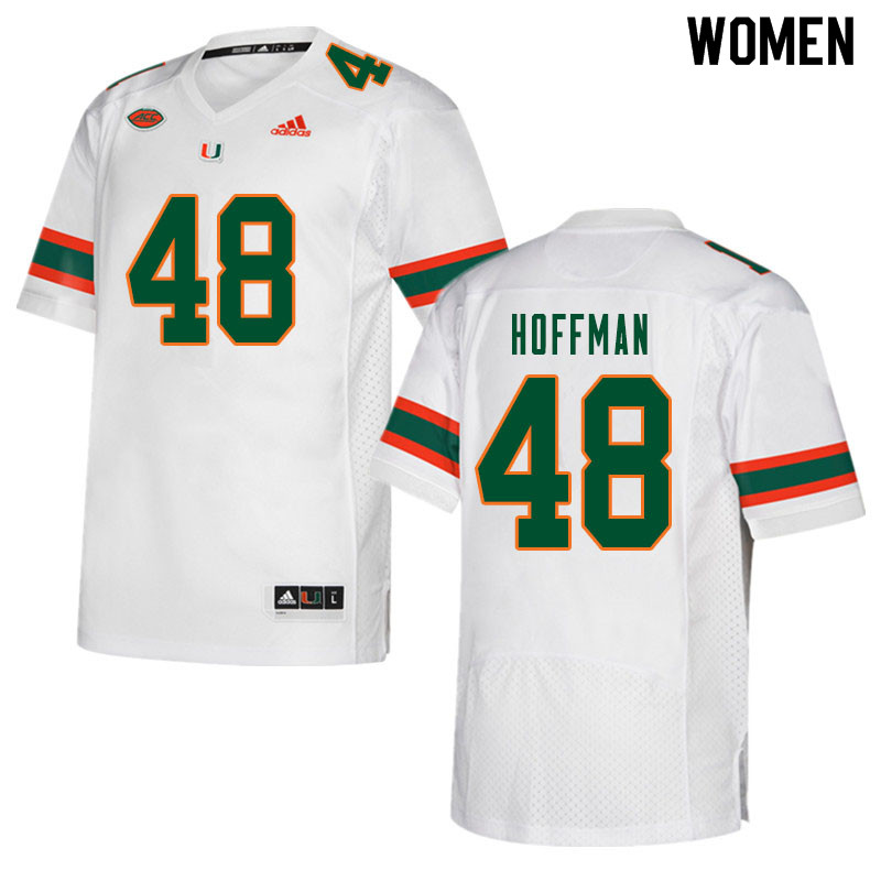 Women #48 Jake Hoffman Miami Hurricanes College Football Jerseys Sale-White
