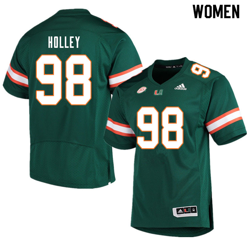 Women #98 Jalar Holley Miami Hurricanes College Football Jerseys Sale-Green