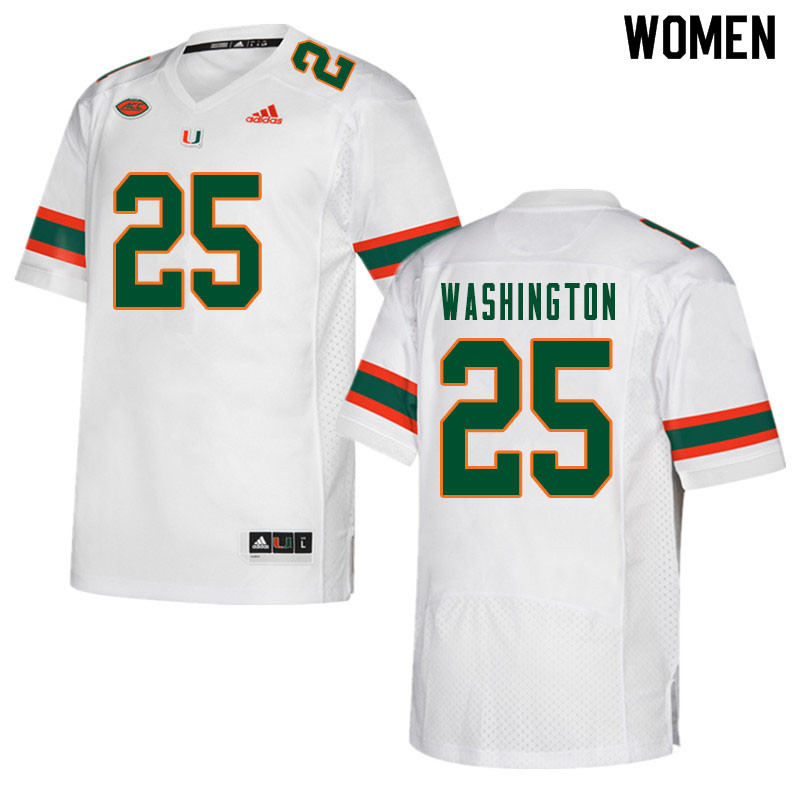 Women #25 Keshawn Washington Miami Hurricanes College Football Jerseys Sale-White