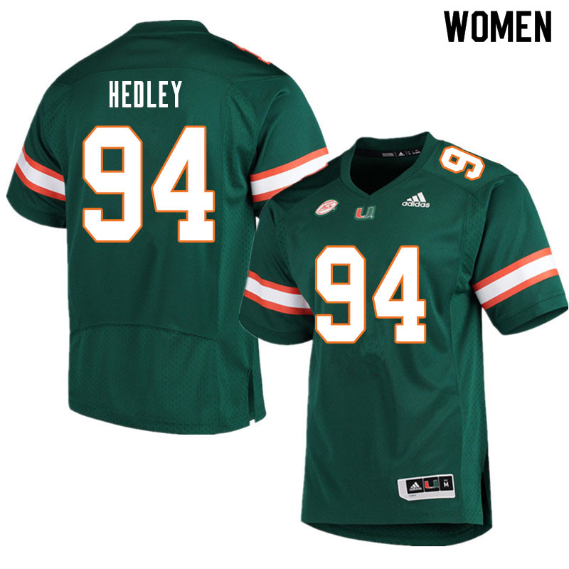Women #94 Lou Hedley Miami Hurricanes College Football Jerseys Sale-Green