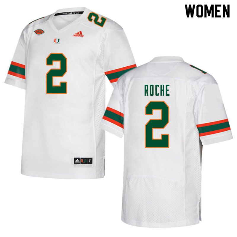 Women #2 Quincy Roche Miami Hurricanes College Football Jerseys Sale-White