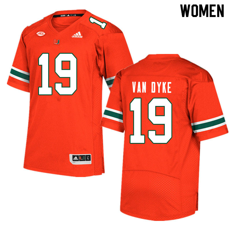 Women #19 Tyler Van Dyke Miami Hurricanes College Football Jerseys Sale-Orange