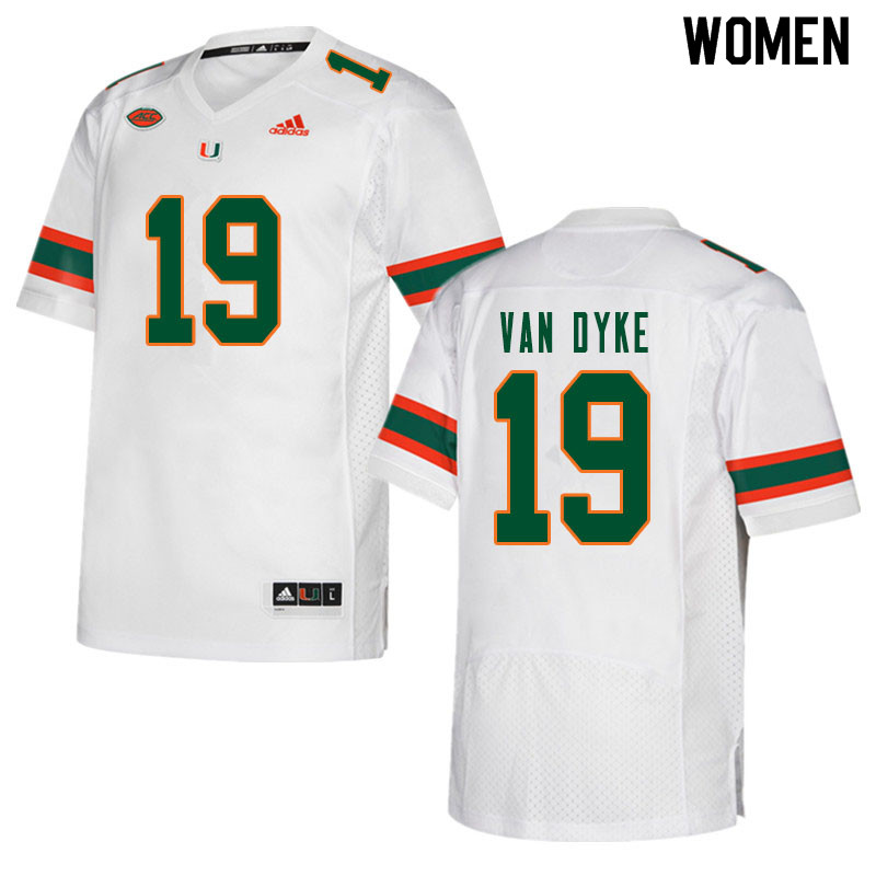 Women #19 Tyler Van Dyke Miami Hurricanes College Football Jerseys Sale-White