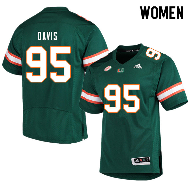 Women #95 Thomas Davis Miami Hurricanes College Football Jerseys Sale-Green
