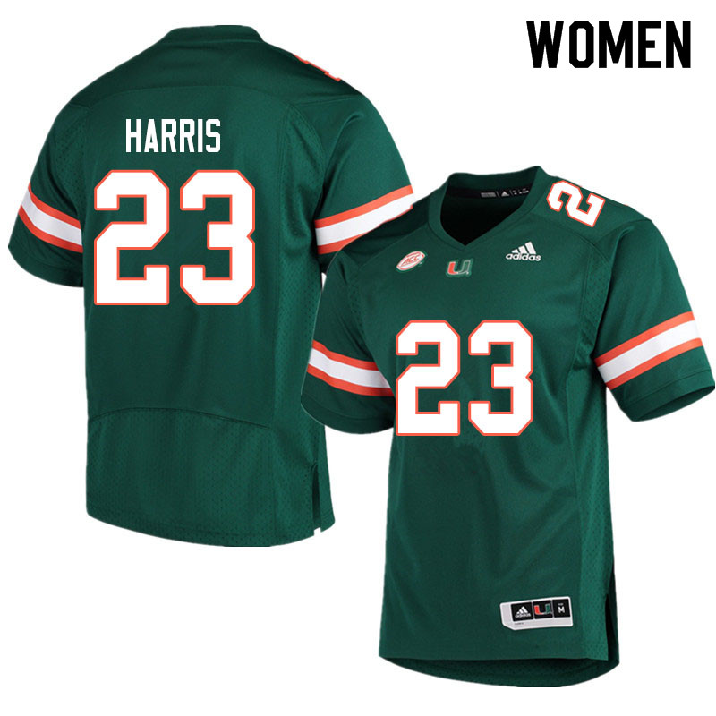 Adidas Miami Hurricanes Women #23 Cam'Ron Harris College Football Jerseys Sale-Green