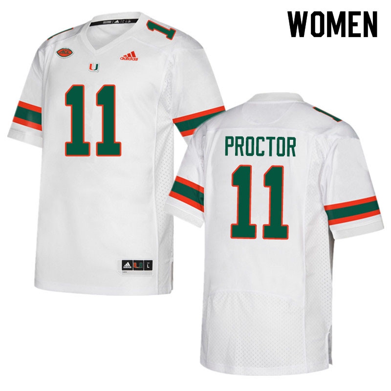 Adidas Miami Hurricanes Women #11 Carson Proctor College Football Jerseys Sale-White