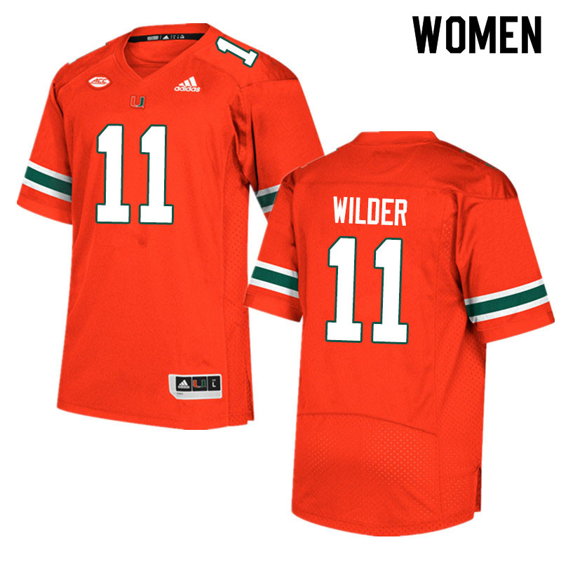 Adidas Miami Hurricanes Women #11 De'Andre Wilder College Football Jerseys Sale-Orange