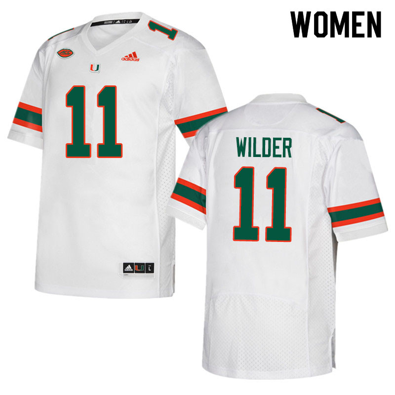 Adidas Miami Hurricanes Women #11 De'Andre Wilder College Football Jerseys Sale-White
