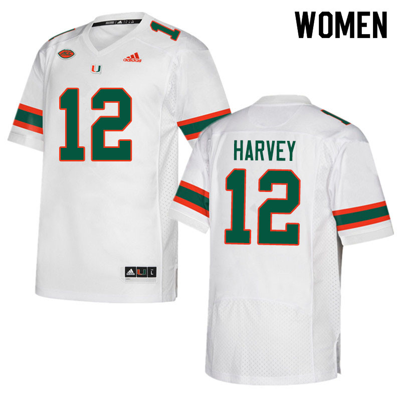 Adidas Miami Hurricanes Women #12 Jahfari Harvey College Football Jerseys Sale-White