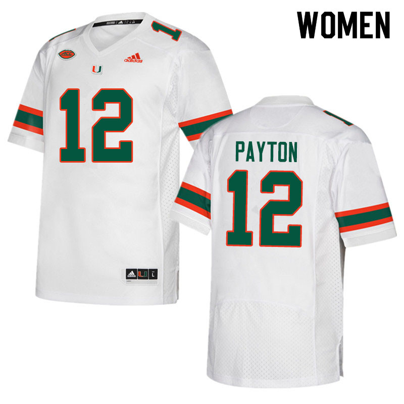 Adidas Miami Hurricanes Women #12 Jeremiah Payton College Football Jerseys Sale-White