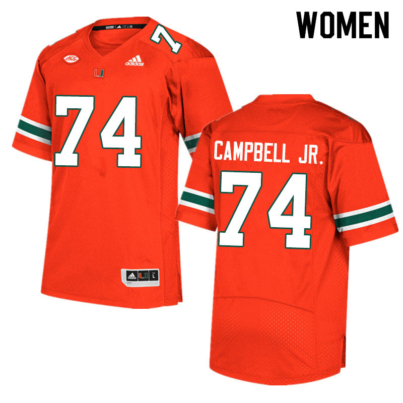 Adidas Miami Hurricanes Women #74 John Campbell Jr. College Football Jerseys Sale-Orange