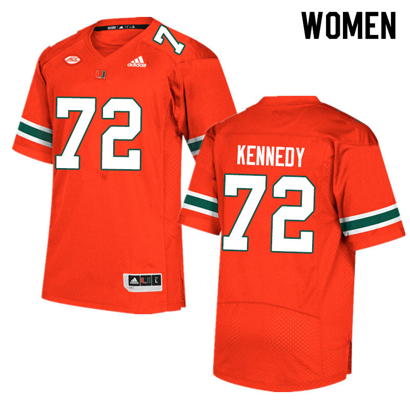 Adidas Miami Hurricanes Women #72 Tommy Kennedy College Football Jerseys Sale-Orange