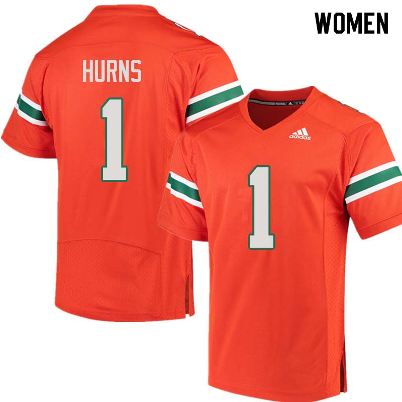 Women Miami Hurricanes #1 Allen Hurns College Football Jerseys Sale-Orange