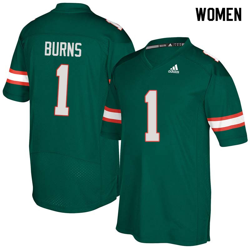 Women Miami Hurricanes #1 Artie Burns College Football Jerseys Sale-Green