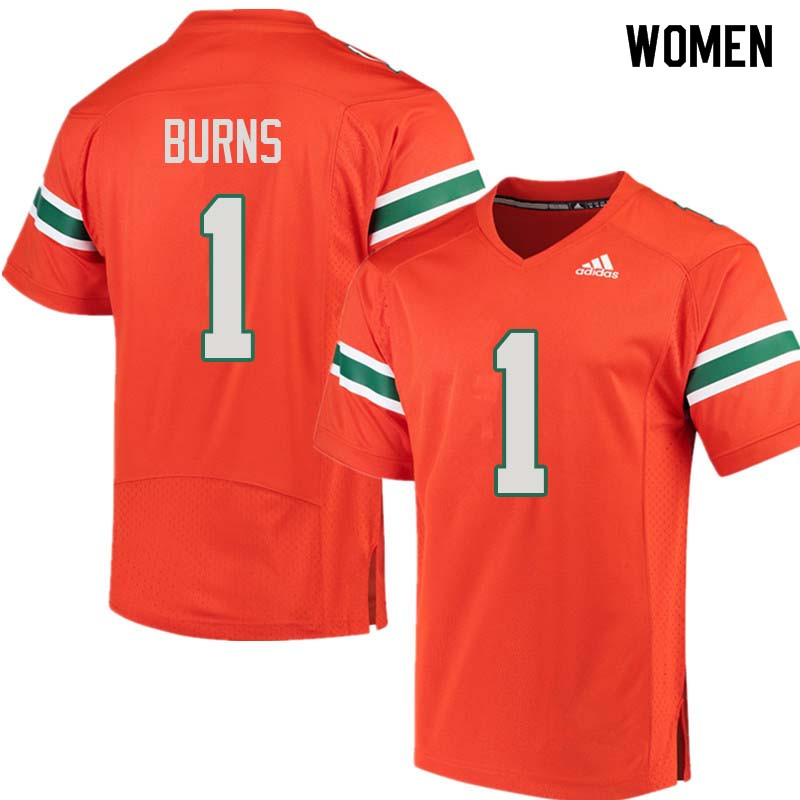 Women Miami Hurricanes #1 Artie Burns College Football Jerseys Sale-Orange