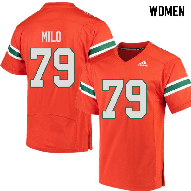 Women Miami Hurricanes #79 Bar Milo College Football Jerseys Sale-Orange