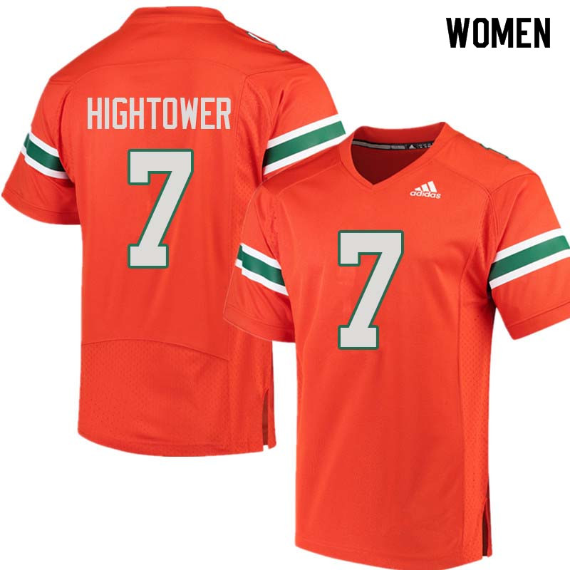Women Miami Hurricanes #7 Brian Hightower College Football Jerseys Sale-Orange