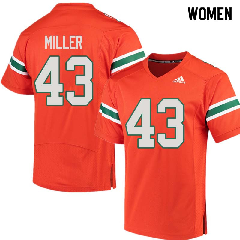 Women Miami Hurricanes #43 Brian Miller College Football Jerseys Sale-Orange