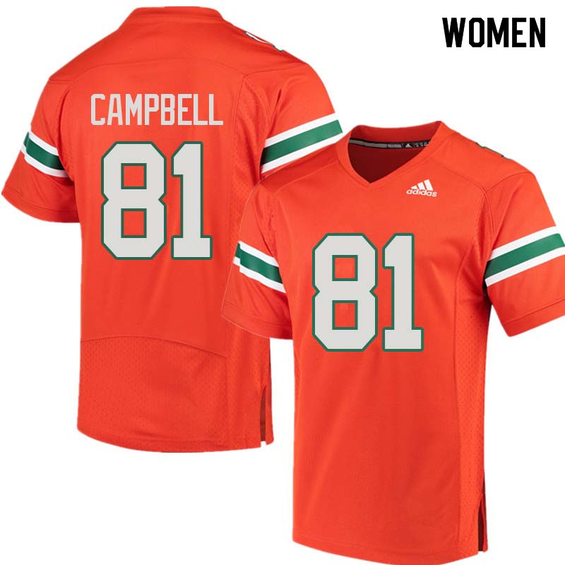 Women Miami Hurricanes #81 Calais Campbell College Football Jerseys Sale-Orange