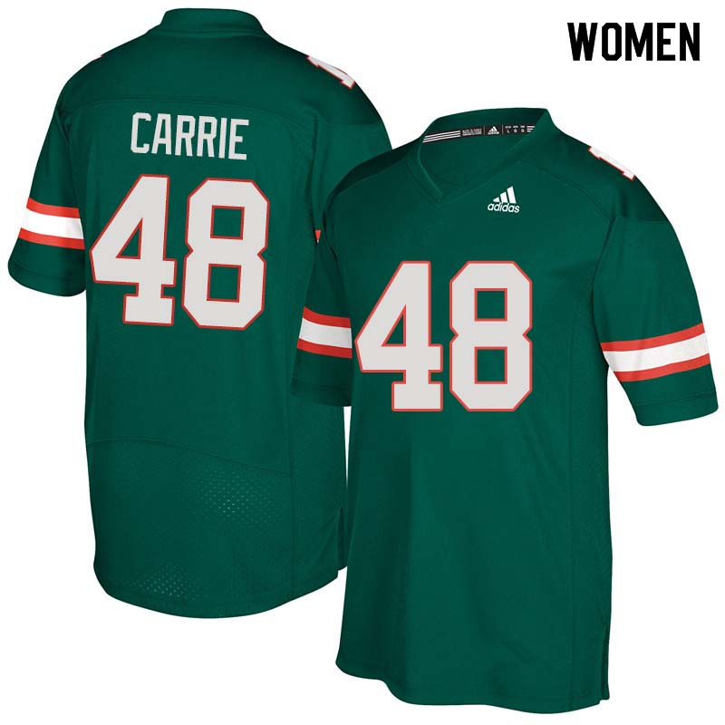 Women Miami Hurricanes #48 Calvin Carrie College Football Jerseys Sale-Green