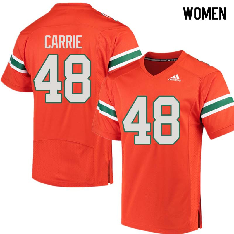 Women Miami Hurricanes #48 Calvin Carrie College Football Jerseys Sale-Orange