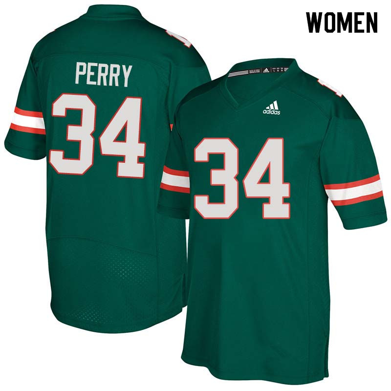 Women Miami Hurricanes #34 Charles Perry College Football Jerseys Sale-Green