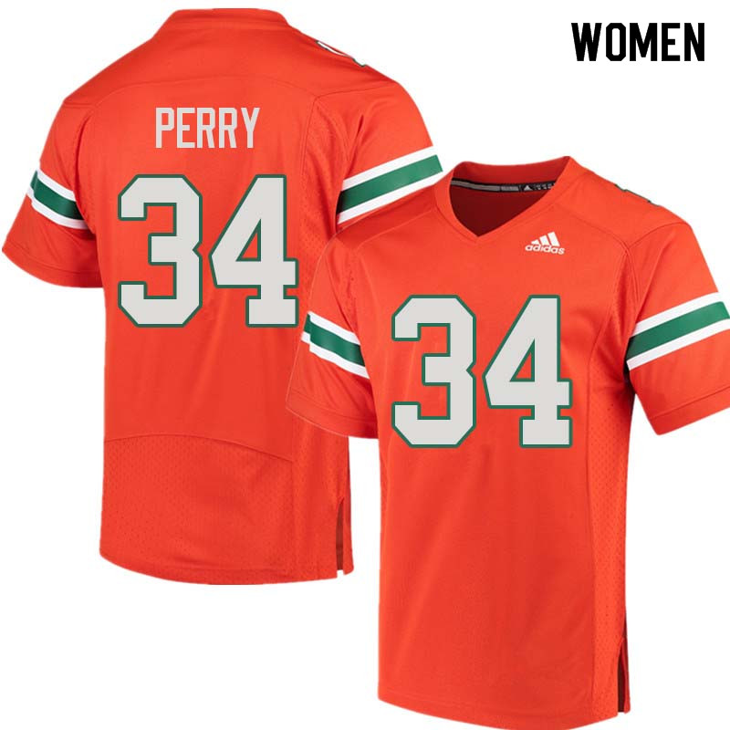 Women Miami Hurricanes #34 Charles Perry College Football Jerseys Sale-Orange
