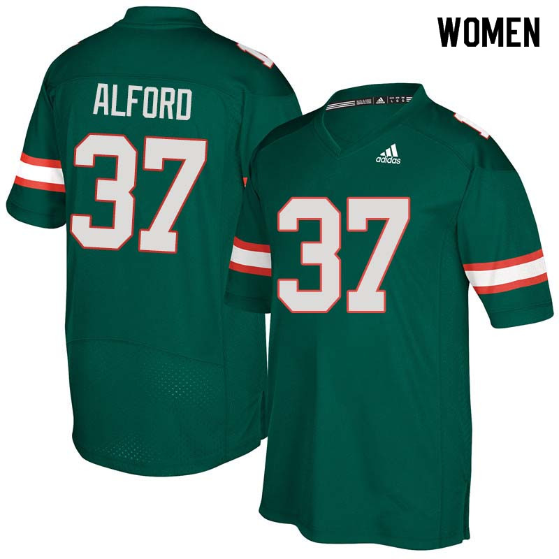 Women Miami Hurricanes #37 Colvin Alford College Football Jerseys Sale-Green