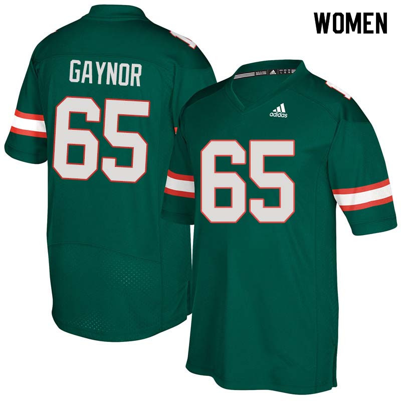 Women Miami Hurricanes #65 Corey Gaynor College Football Jerseys Sale-Green