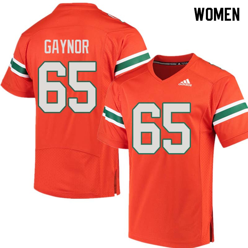 Women Miami Hurricanes #65 Corey Gaynor College Football Jerseys Sale-Orange