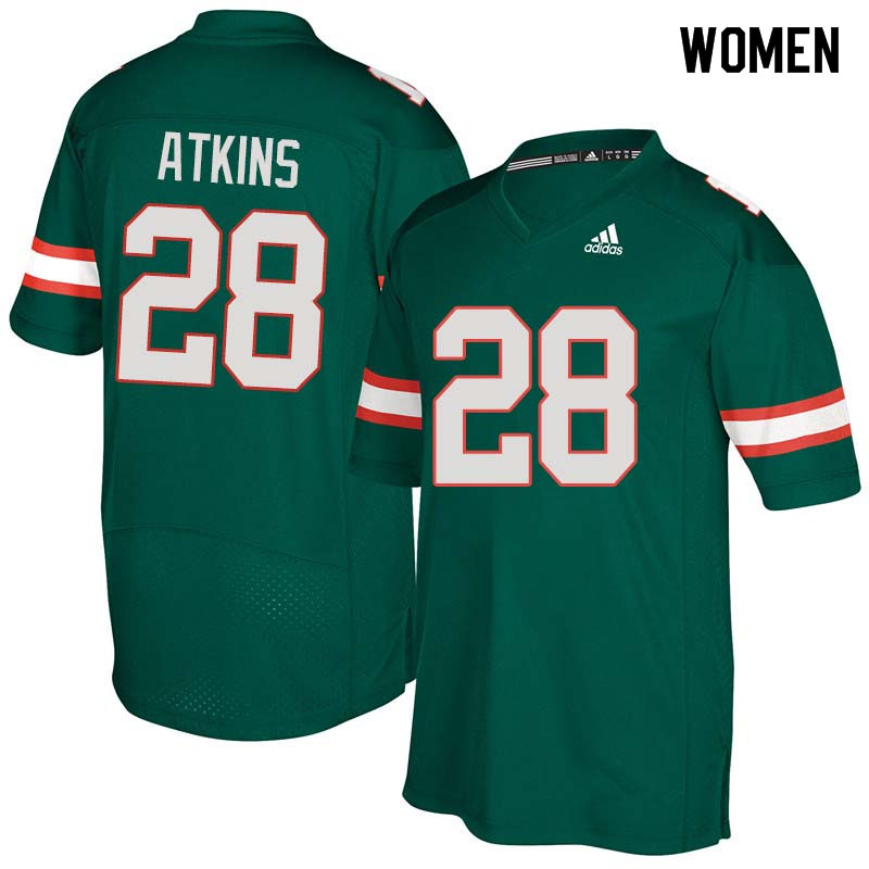 Women Miami Hurricanes #28 Crispian Atkins College Football Jerseys Sale-Green