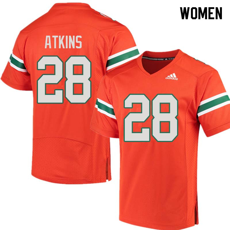 Women Miami Hurricanes #28 Crispian Atkins College Football Jerseys Sale-Orange