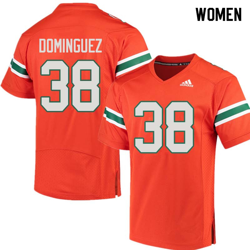 Women Miami Hurricanes #38 Danny Dominguez College Football Jerseys Sale-Orange