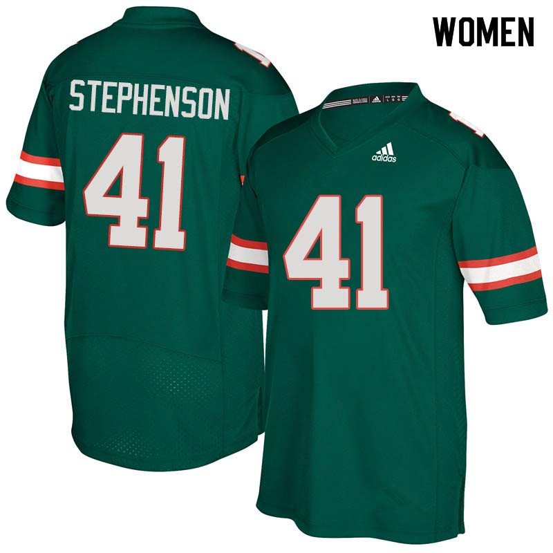 Women Miami Hurricanes #41 Darian Stephenson College Football Jerseys Sale-Green