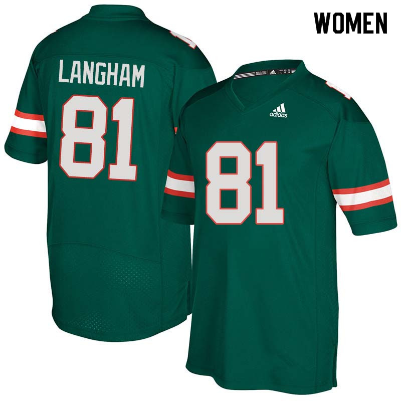 Women Miami Hurricanes #81 Darrell Langham College Football Jerseys Sale-Green