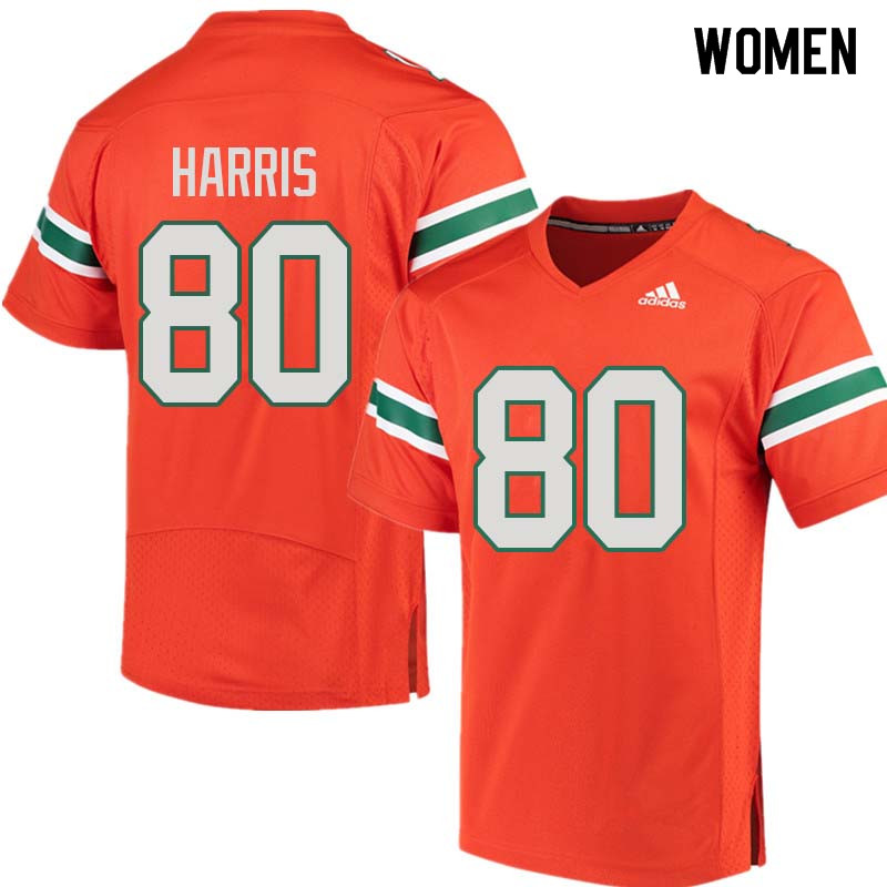 Women Miami Hurricanes #80 Dayall Harris College Football Jerseys Sale-Orange