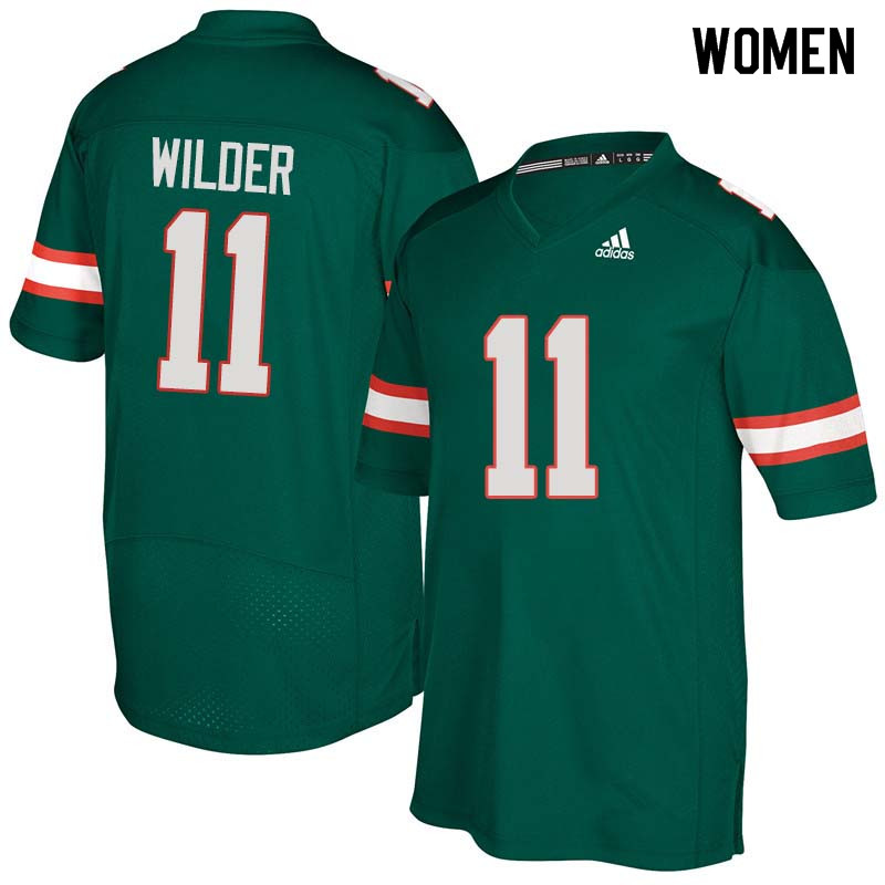Women Miami Hurricanes #11 DeAndre Wilder College Football Jerseys Sale-Green