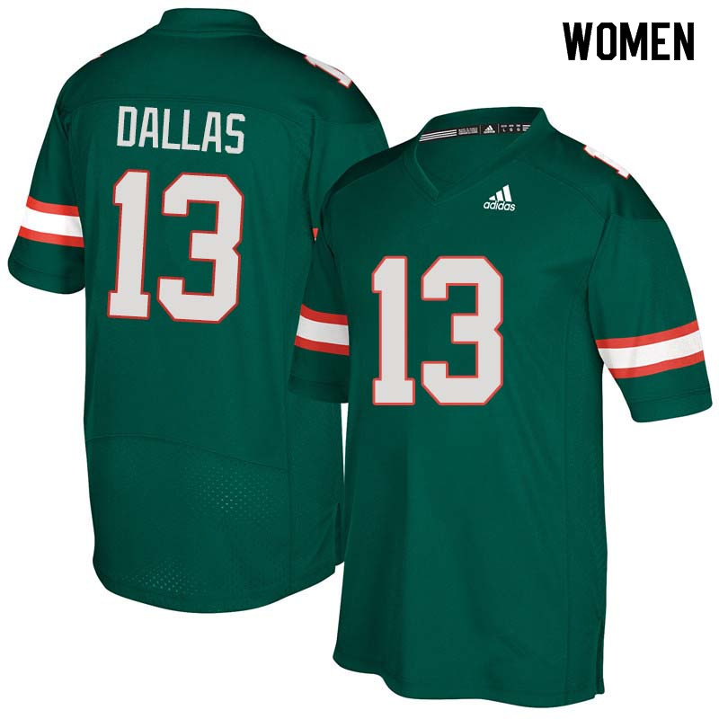 Women Miami Hurricanes #13 DeeJay Dallas College Football Jerseys Sale-Green