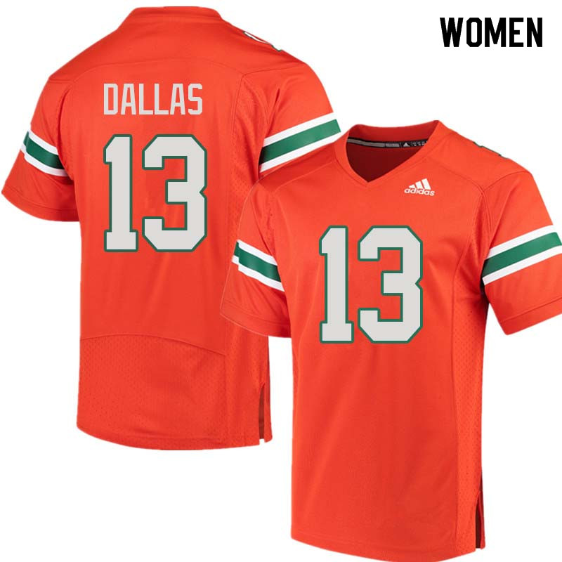Women Miami Hurricanes #13 DeeJay Dallas College Football Jerseys Sale-Orange