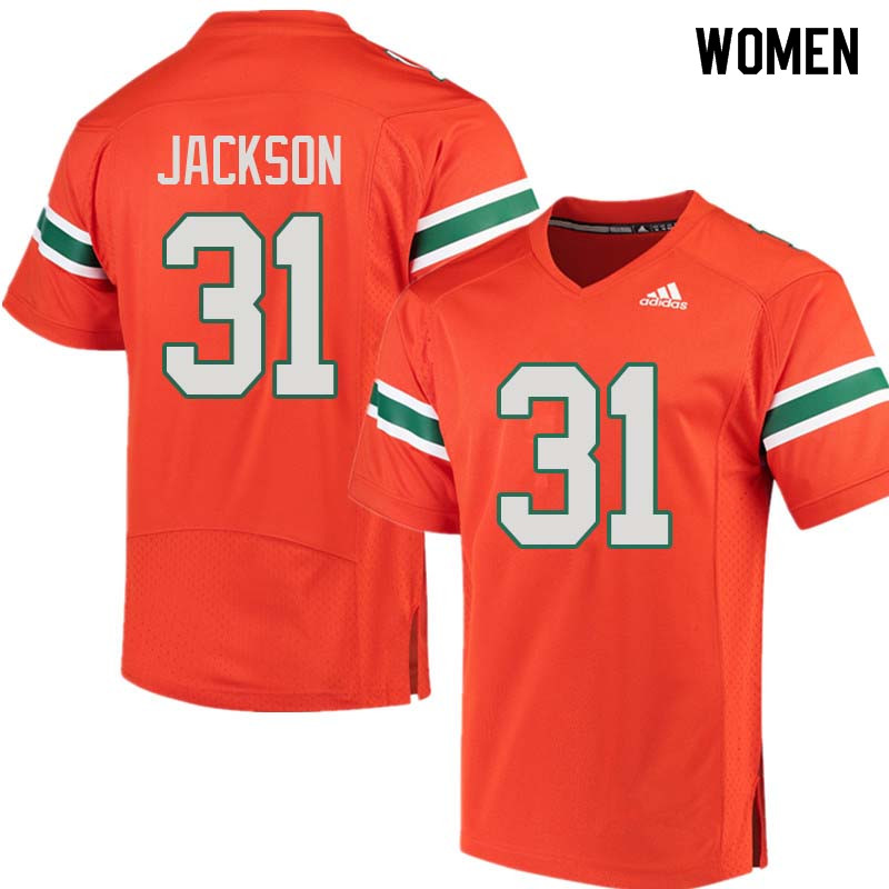 Women Miami Hurricanes #31 Demetrius Jackson College Football Jerseys Sale-Orange