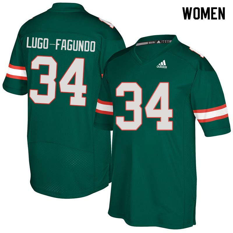 Women Miami Hurricanes #34 Elias Lugo-Fagundo College Football Jerseys Sale-Green