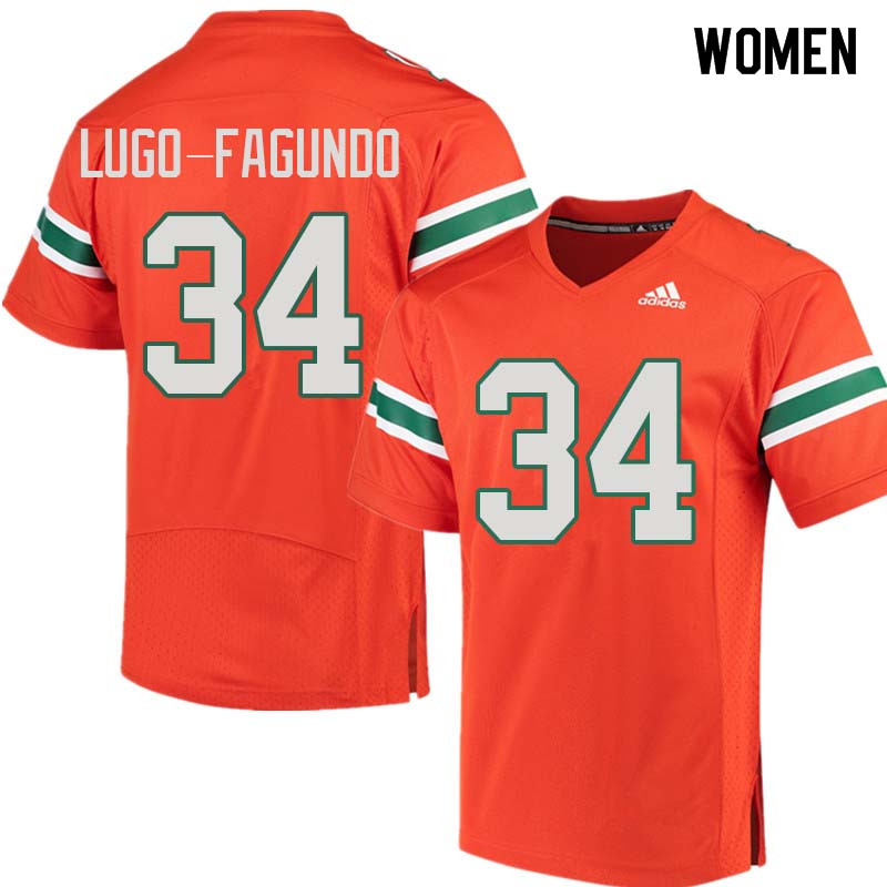 Women Miami Hurricanes #34 Elias Lugo-Fagundo College Football Jerseys Sale-Orange