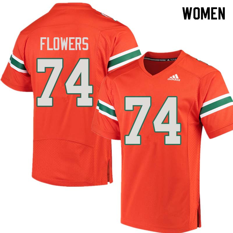 Women Miami Hurricanes #74 Ereck Flowers College Football Jerseys Sale-Orange