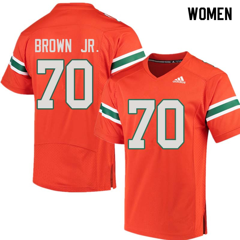 Women Miami Hurricanes #70 George Brown Jr. College Football Jerseys Sale-Orange