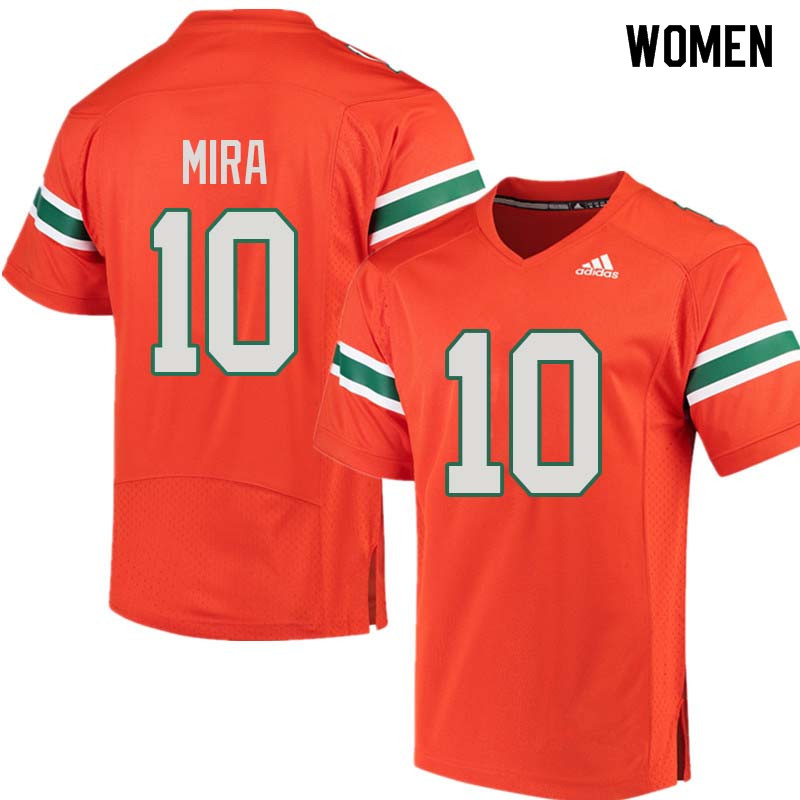 Women Miami Hurricanes #10 George Mira College Football Jerseys Sale-Orange
