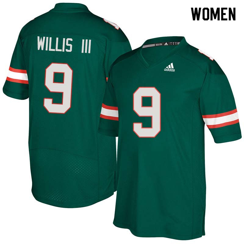 Women Miami Hurricanes #9 Gerald Willis III College Football Jerseys Sale-Green