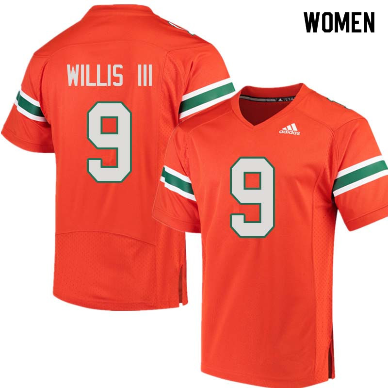 Women Miami Hurricanes #9 Gerald Willis III College Football Jerseys Sale-Orange